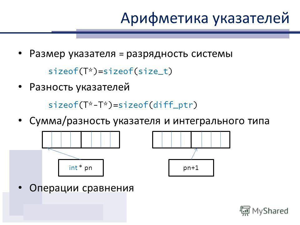 Арифметика указателей Размер указателя = разрядность системы sizeof(T*)=sizeof(size_t) Разность указателей sizeof(T*-T*)=sizeof(diff_ptr) Сумма/разность указателя и интегрального типа Операции сравнения int * pnpn+1