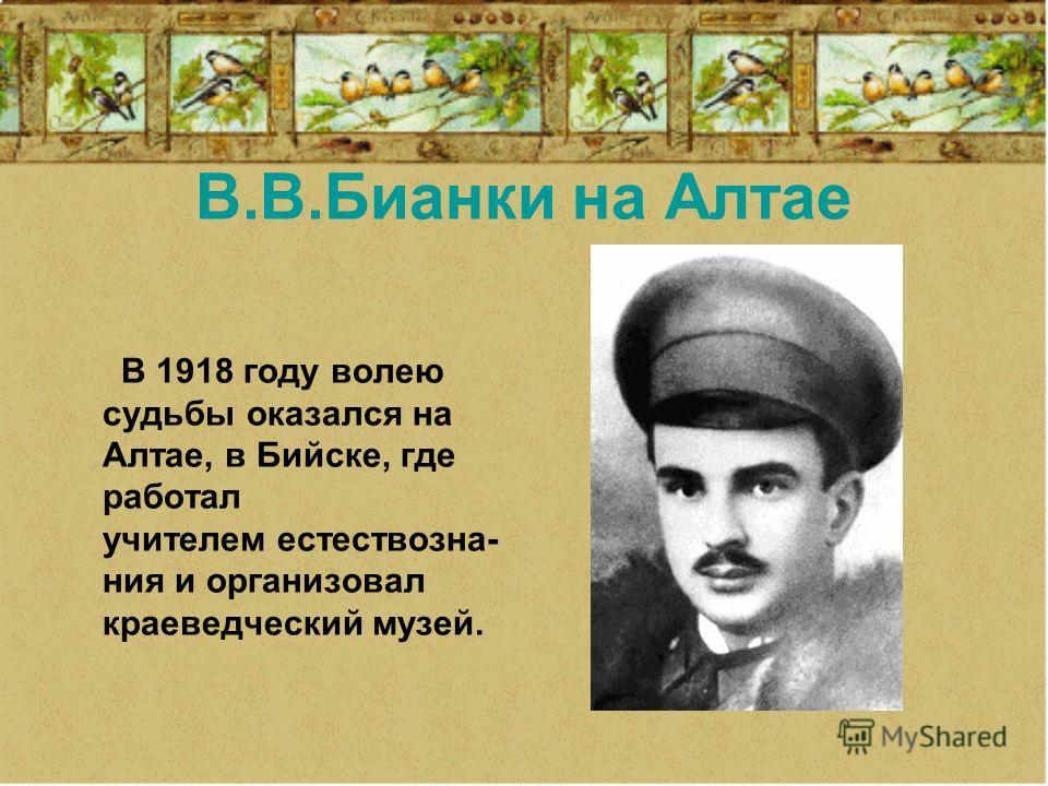 В.В.Бианки на Алтае В 1918 году волею судьбы оказался на Алтае, в Бийске, где работал учителем естествозна- ния и организовал краеведческий музей.