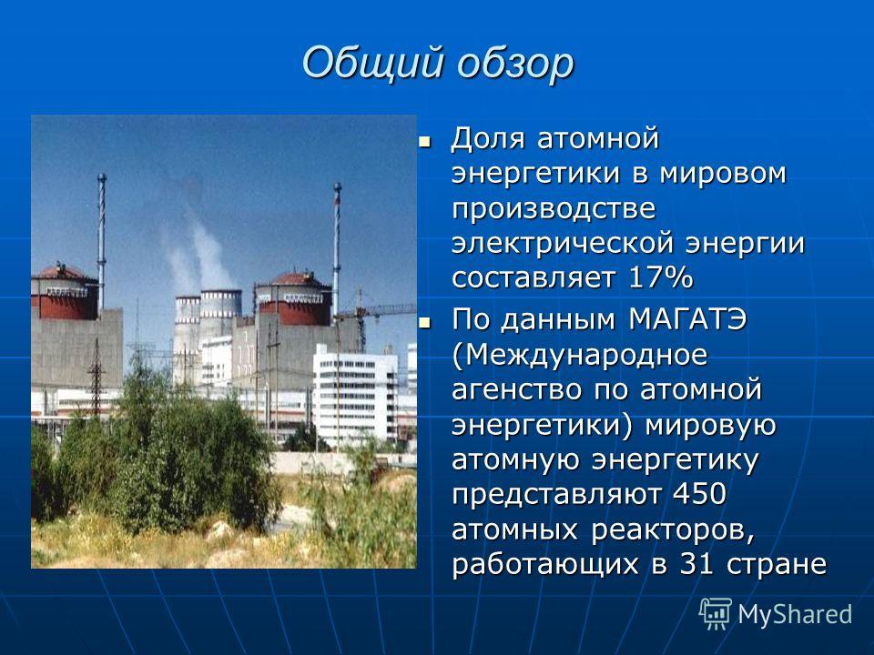 Общий обзор Доля атомной энергетики в мировом производстве электрической энергии составляет 17% Доля атомной энергетики в мировом производстве электрической энергии составляет 17% По данным МАГАТЭ (Международное агенство по атомной энергетики) мирову