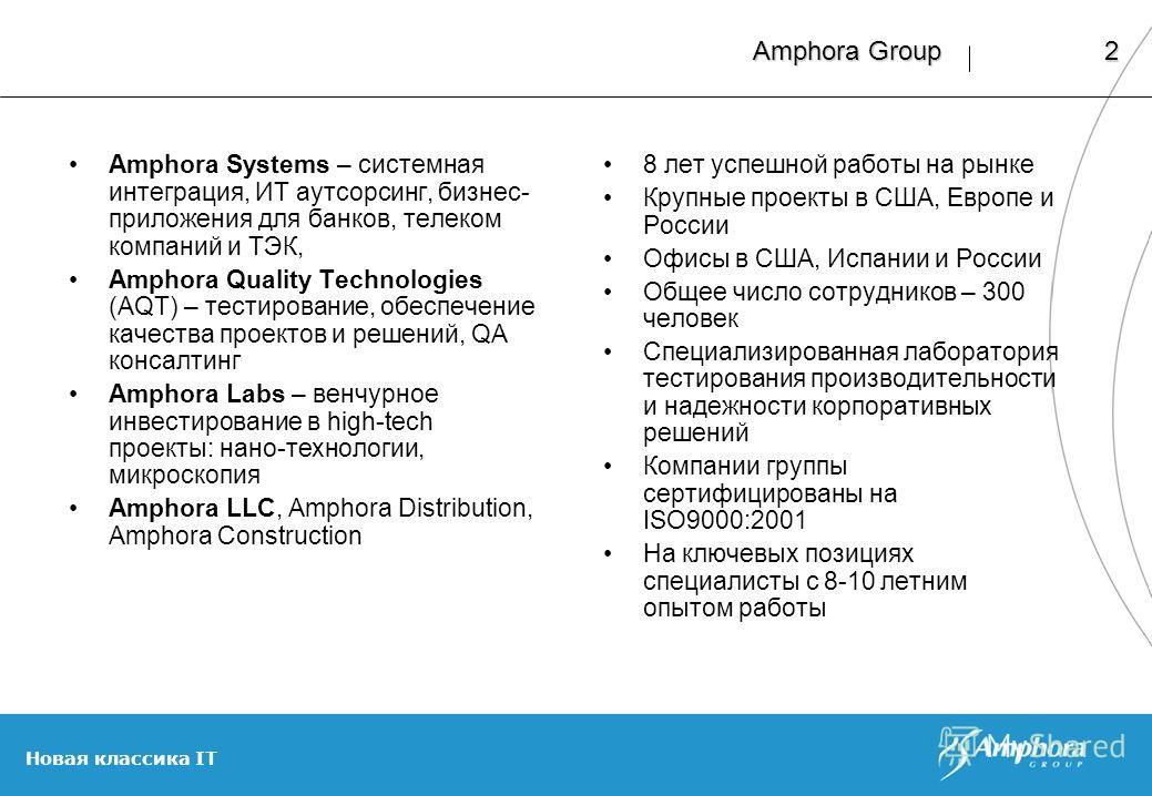 Новая классика IT 2 Amphora Group Amphora Systems – системная интеграция, ИТ аутсорсинг, бизнес- приложения для банков, телеком компаний и ТЭК, Amphora Quality Technologies (AQT) – тестирование, обеспечение качества проектов и решений, QA консалтинг