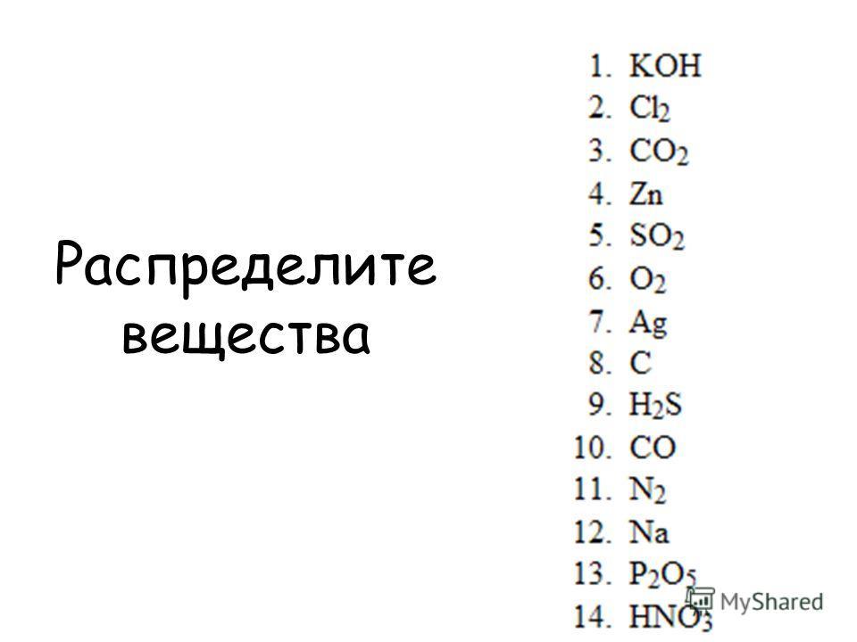 Распределите вещества