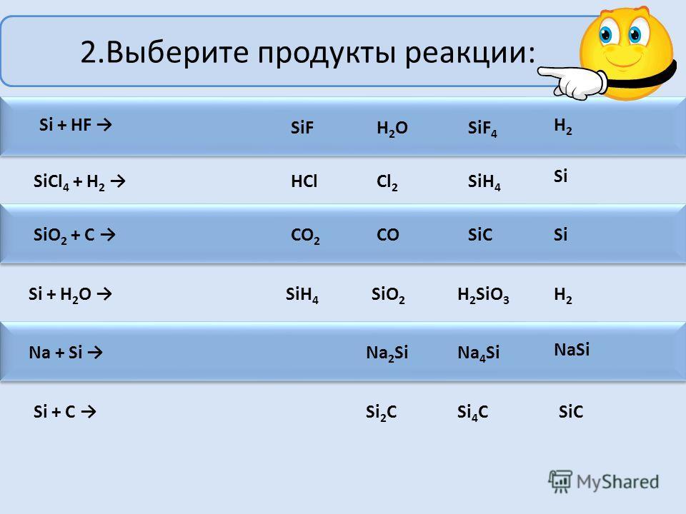 1.С какими веществами реагирует кристаллический кремний? KOH HCl H 2 SO 4 Cl 2