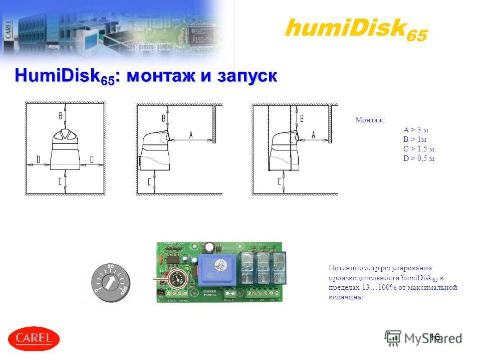 16 Потенциометр регулирования производительности humiDisk 65 в пределах 13…100% от максимальной величины humiDisk 65 Монтаж: A > 3 м B > 1м C > 1,5 м D > 0,5 м HumiDisk 65 : монтаж и запуск