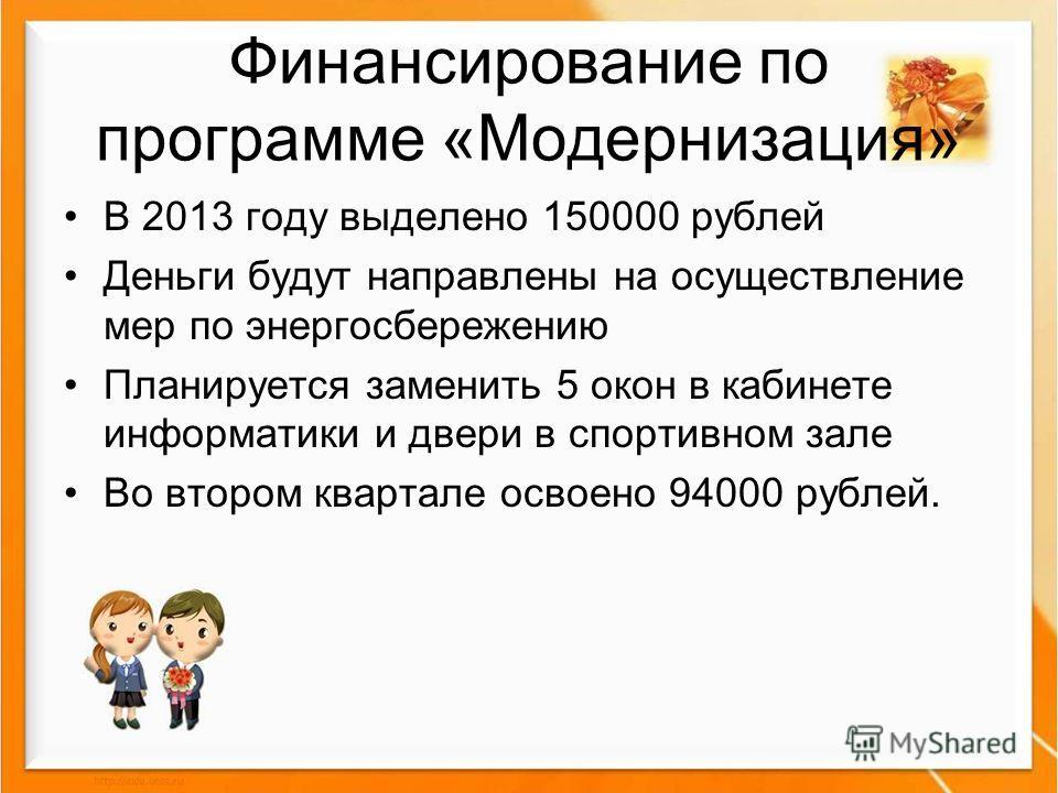 Финансирование по программе «Модернизация» В 2013 году выделено 150000 рублей Деньги будут направлены на осуществление мер по энергосбережению Планируется заменить 5 окон в кабинете информатики и двери в спортивном зале Во втором квартале освоено 940