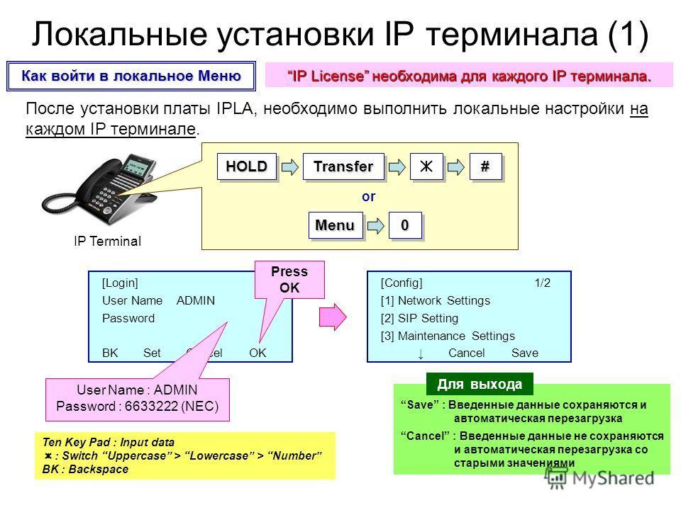 После установки платы IPLA, необходимо выполнить локальные настройки на каждом IP терминале. MenuMenu00 [Login] User Name ADMIN Password BK Set Cancel OK HOLDHOLDTransferTransfer## [Config] 1/2 [1] Network Settings [2] SIP Setting [3] Maintenance Set
