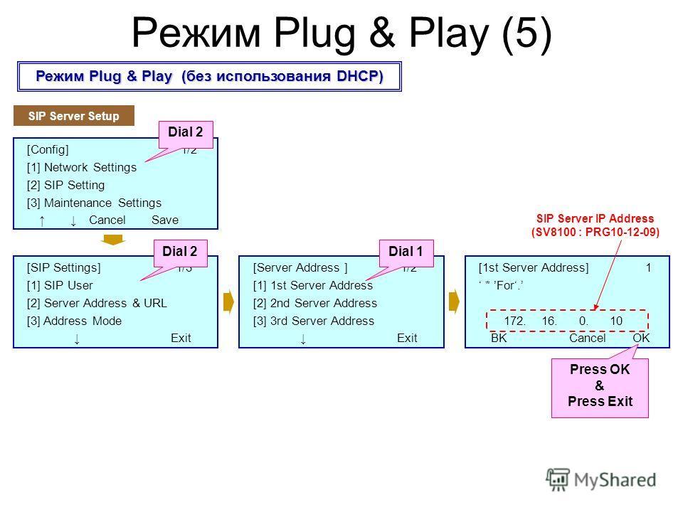 [SIP Settings] 1/3 [1] SIP User [2] Server Address & URL [3] Address Mode Exit [Config] 1/2 [1] Network Settings [2] SIP Setting [3] Maintenance Settings Cancel Save Режим Plug & Play (без использования DHCP) Режим Plug & Play (5) Dial 2 SIP Server S
