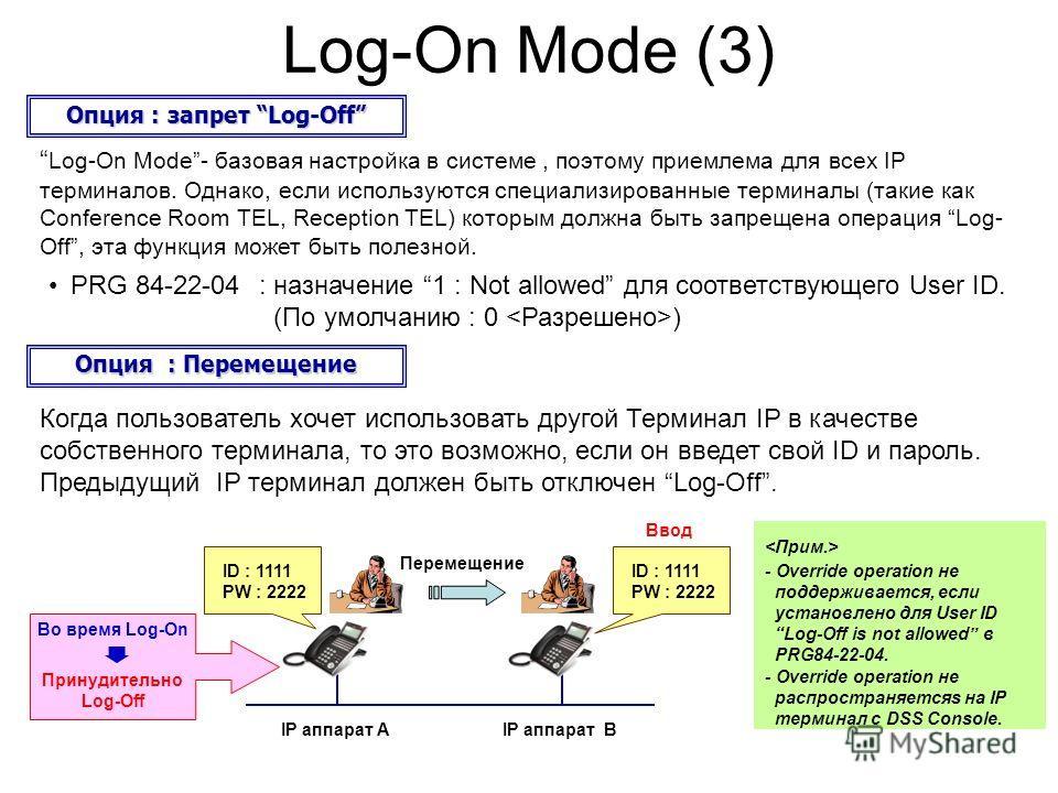 Log-On Mode (3) PRG 84-22-04: назначение 1 : Not allowed для соответствующего User ID. (По умолчанию : 0 ) Опция : запрет Log-Off Log-On Mode- базовая настройка в системе, поэтому приемлема для всех IP терминалов. Однако, если используются специализи