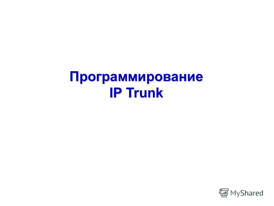 Программирование IP Trunk