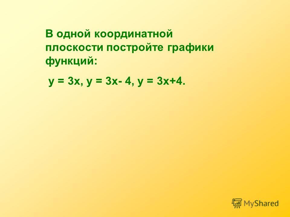 В одной координатной плоскости постройте графики функций: у = 3х, у = 3х- 4, у = 3х+4.