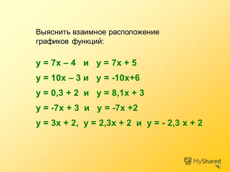 Выяснить взаимное расположение графиков функций: у = 7х – 4 и у = 7х + 5 у = 10х – 3 и у = -10х+6 у = 0,3 + 2 и у = 8,1х + 3 у = -7х + 3 и у = -7х +2 у = 3х + 2, у = 2,3х + 2 и у = - 2,3 х + 2