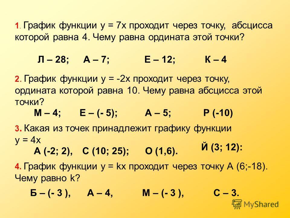 1. График функции у = 7х проходит через точку, абсцисса которой равна 4. Чему равна ордината этой точки? 2. График функции у = -2х проходит через точку, ордината которой равна 10. Чему равна абсцисса этой точки? 3. Какая из точек принадлежит графику