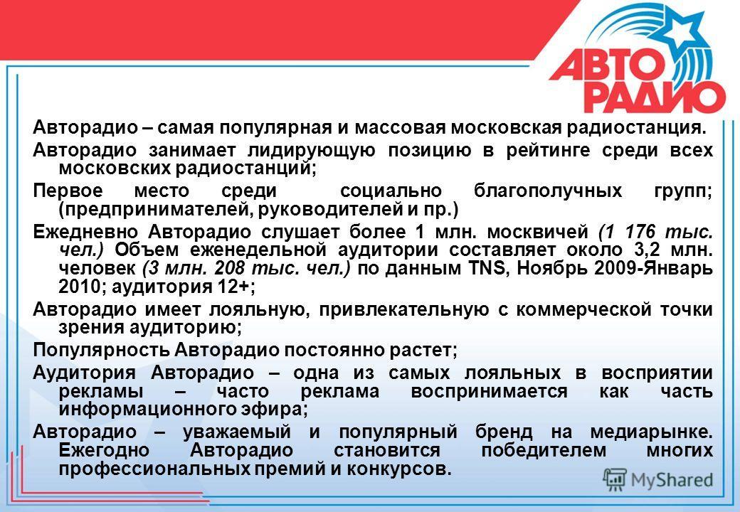 Авторадио – самая популярная и массовая московская радиостанция. Авторадио занимает лидирующую позицию в рейтинге среди всех московских радиостанций; Первое место среди социально благополучных групп; (предпринимателей, руководителей и пр.) Ежедневно