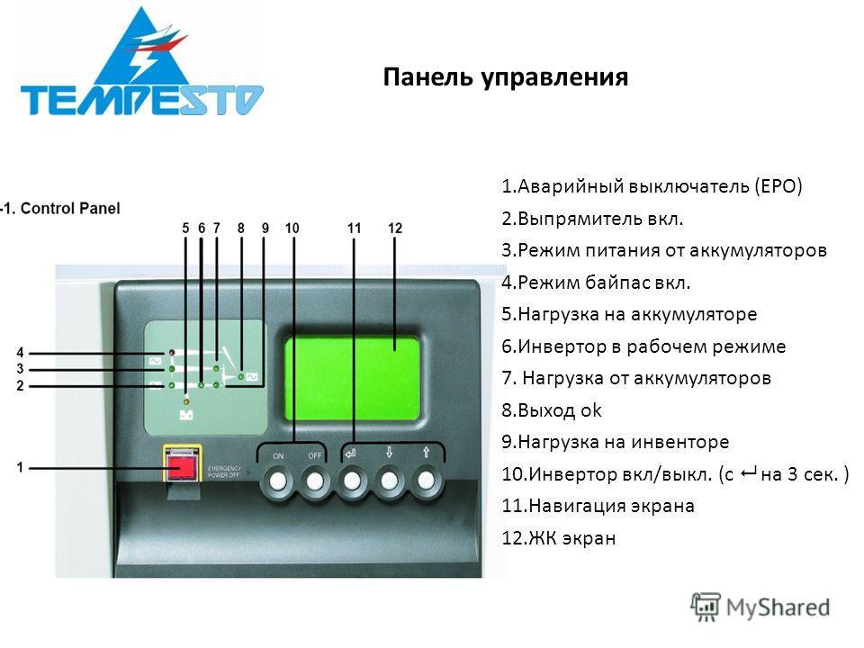 Панель управления 1.Аварийный выключатель (EPO) 2.Выпрямитель вкл. 3.Режим питания от аккумуляторов 4.Режим байпас вкл. 5.Нагрузка на аккумуляторе 6.Инвертор в рабочем режиме 7. Нагрузка от аккумуляторов 8.Выход ok 9.Нагрузка на инвенторе 10.Инвертор
