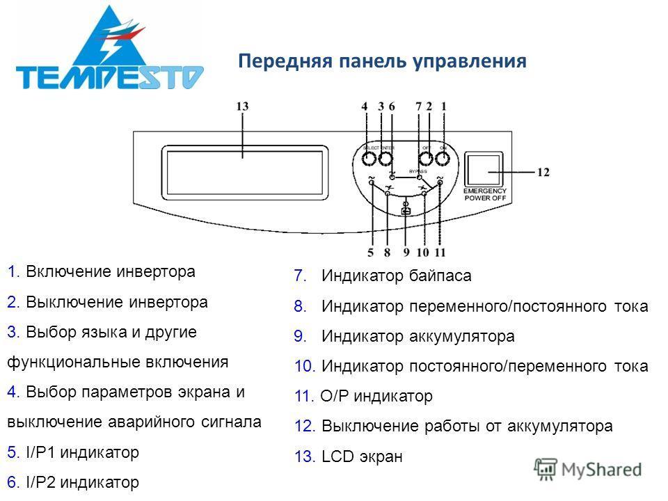 Передняя панель управления 1. Включение инвертора 2. Выключение инвертора 3. Выбор языка и другие функциональные включения 4. Выбор параметров экрана и выключение аварийного сигнала 5. I/P1 индикатор 6. I/P2 индикатор 7. Индикатор байпаса 8. Индикато