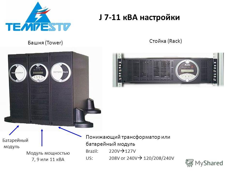 J 7-11 кВА настройки Башня (Tower) Стойка (Rack) Батарейный модуль Модуль мощностью 7, 9 или 11 кВА Понижающий трансформатор или батарейный модуль Brazil: 220V 127V US: 208V or 240V 120/208/240V