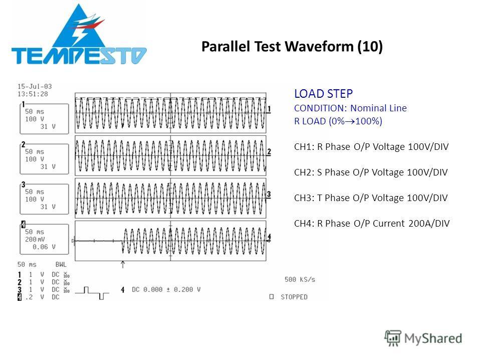Parallel Test Waveform (10) LOAD STEP CONDITION: Nominal Line R LOAD (0% 100%) CH1: R Phase O/P Voltage 100V/DIV CH2: S Phase O/P Voltage 100V/DIV CH3: T Phase O/P Voltage 100V/DIV CH4: R Phase O/P Current 200A/DIV