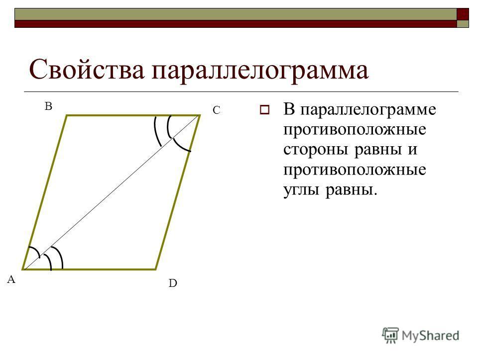Свойства параллелограмма В параллелограмме противоположные стороны равны и противоположные углы равны. А В D С