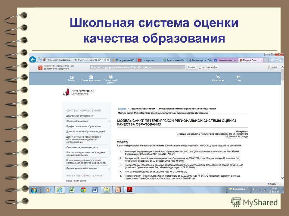 Школьная система оценки качества образования Модель Санкт-Петербургской региональной системы оценки качества образования