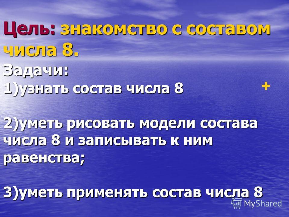 Цель: знакомство с составом числа 8. Задачи: 1)узнать состав числа 8 2)уметь рисовать модели состава числа 8 и записывать к ним равенства; 3)уметь применять состав числа 8 +