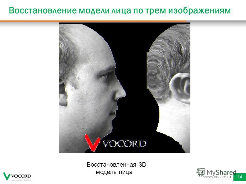 Восстановление модели лица по трем изображениям www.vocord.ru14 Восстановленная 3D модель лица