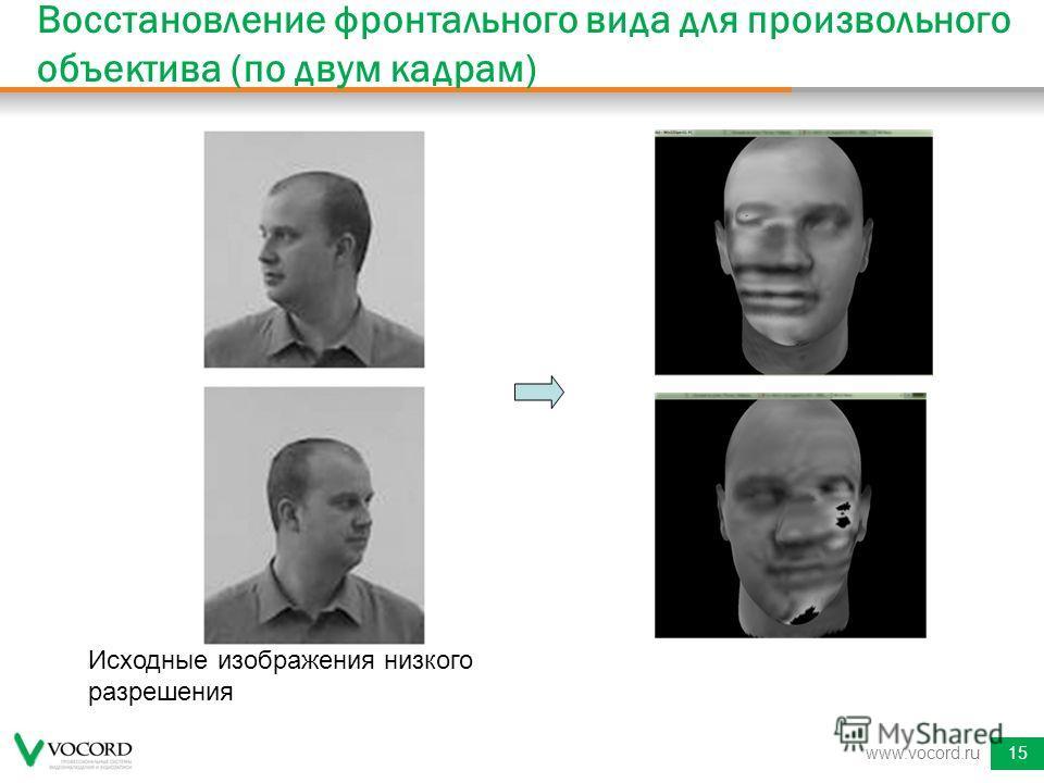 www.vocord.ru15 Восстановление фронтального вида для произвольного объектива (по двум кадрам) Исходные изображения низкого разрешения