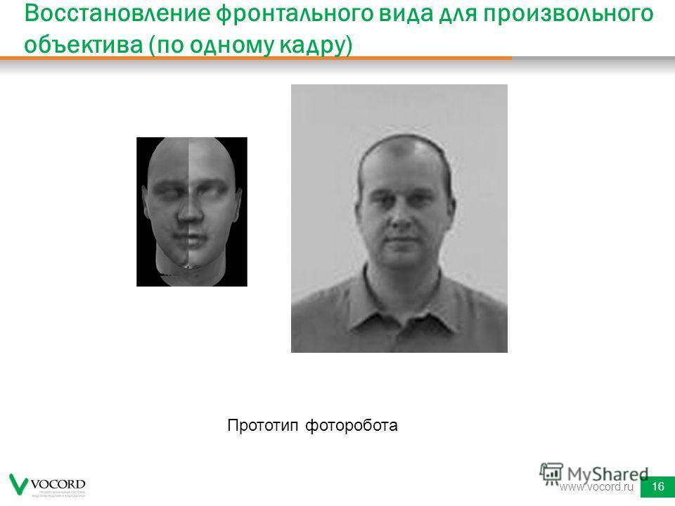 www.vocord.ru16 Восстановление фронтального вида для произвольного объектива (по одному кадру) Прототип фоторобота