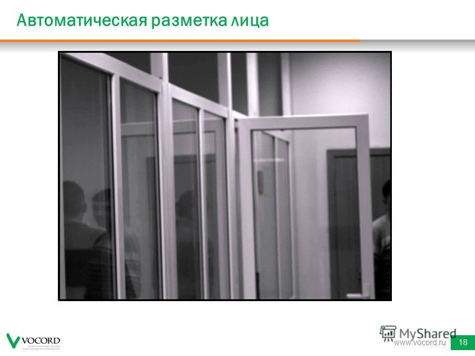 www.vocord.ru18 Автоматическая разметка лица
