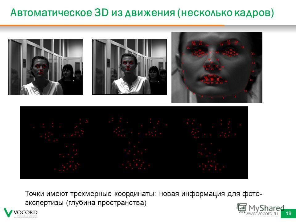 Автоматическое 3D из движения (несколько кадров) www.vocord.ru19 Точки имеют трехмерные координаты: новая информация для фото- экспертизы (глубина пространства)