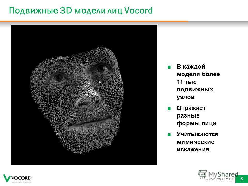 Подвижные 3D модели лиц Vocord www.vocord.ru6 В каждой модели более 11 тыс подвижных узлов Отражает разные формы лица Учитываются мимические искажения
