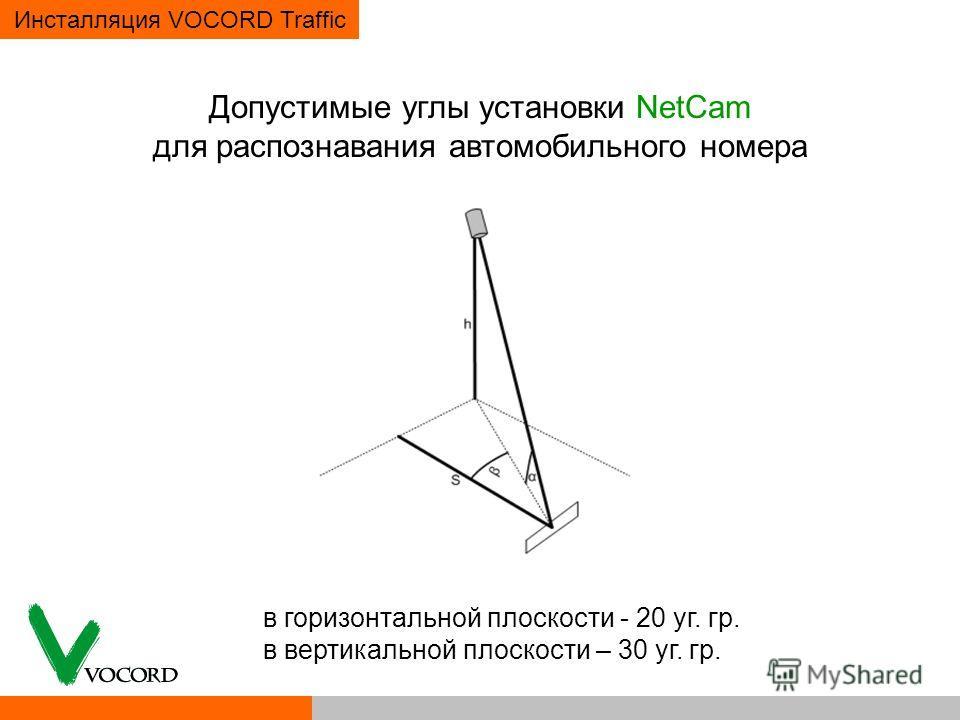 Инсталляция VOCORD Traffic Допустимые углы установки NetCam для распознавания автомобильного номера в горизонтальной плоскости - 20 уг. гр. в вертикальной плоскости – 30 уг. гр.
