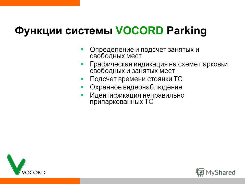 Функции системы VOCORD Parking Определение и подсчет занятых и свободных мест Графическая индикация на схеме парковки свободных и занятых мест Подсчет времени стоянки ТС Охранное видеонаблюдение Идентификация неправильно припаркованных ТС