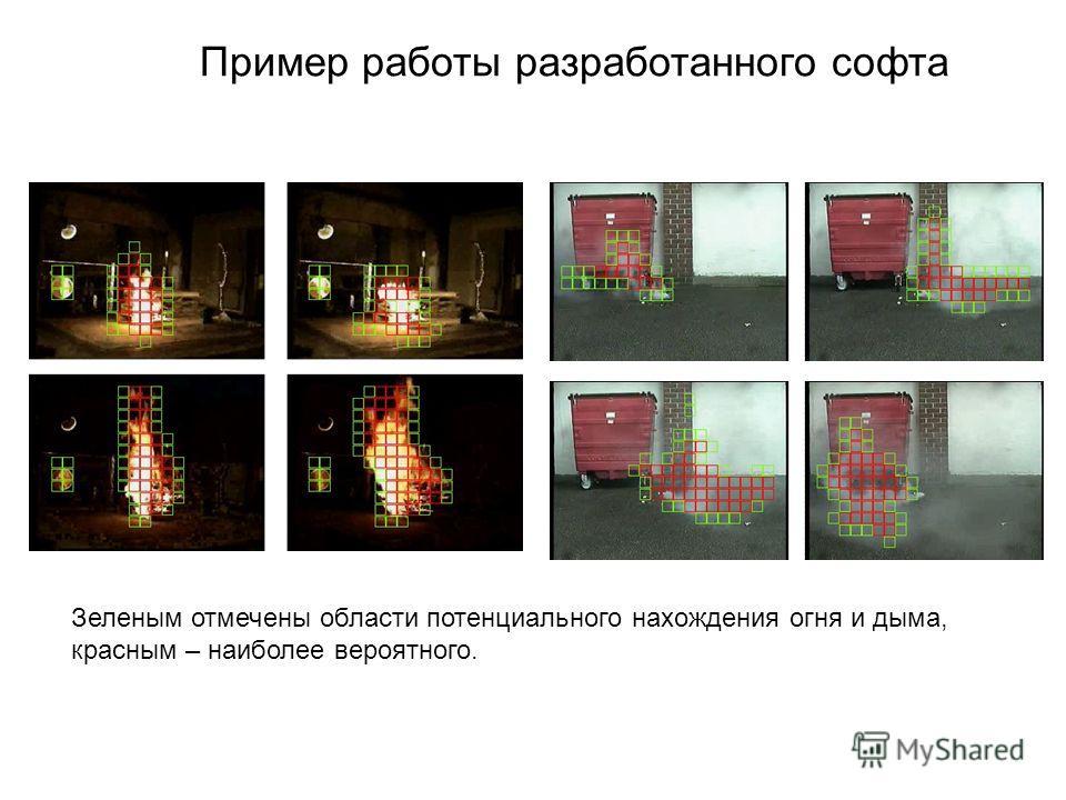 Пример работы разработанного софта Зеленым отмечены области потенциального нахождения огня и дыма, красным – наиболее вероятного.
