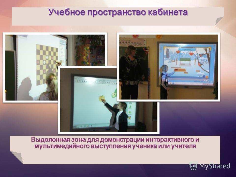 Учебное пространство кабинета Выделенная зона для демонстрации интерактивного и мультимедийного выступления ученика или учителя