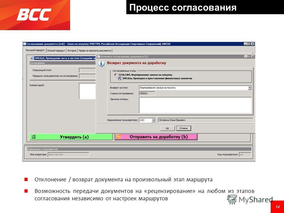 Отклонение / возврат документа на произвольный этап маршрута Возможность передачи документов на «рецензирование» на любом из этапов согласования независимо от настроек маршрутов 14 Процесс согласования