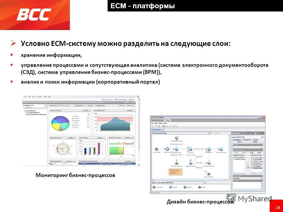 24 ECM - платформы Условно ECM-систему можно разделить на следующие слои: хранение информации, управление процессами и сопутствующая аналитика (система электронного документооборота (СЭД), система управления бизнес-процессами (BPM)), анализ и поиск и