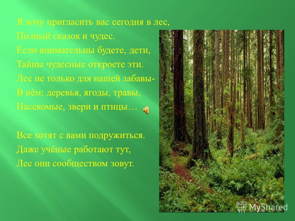 Я хочу пригласить вас сегодня в лес, Полный сказок и чудес. Если внимательны будете, дети, Тайны чудесные откроете эти. Лес не только для нашей забавы - В нём : деревья, ягоды, травы, Насекомые, звери и птицы … Все хотят с вами подружиться. Даже учён