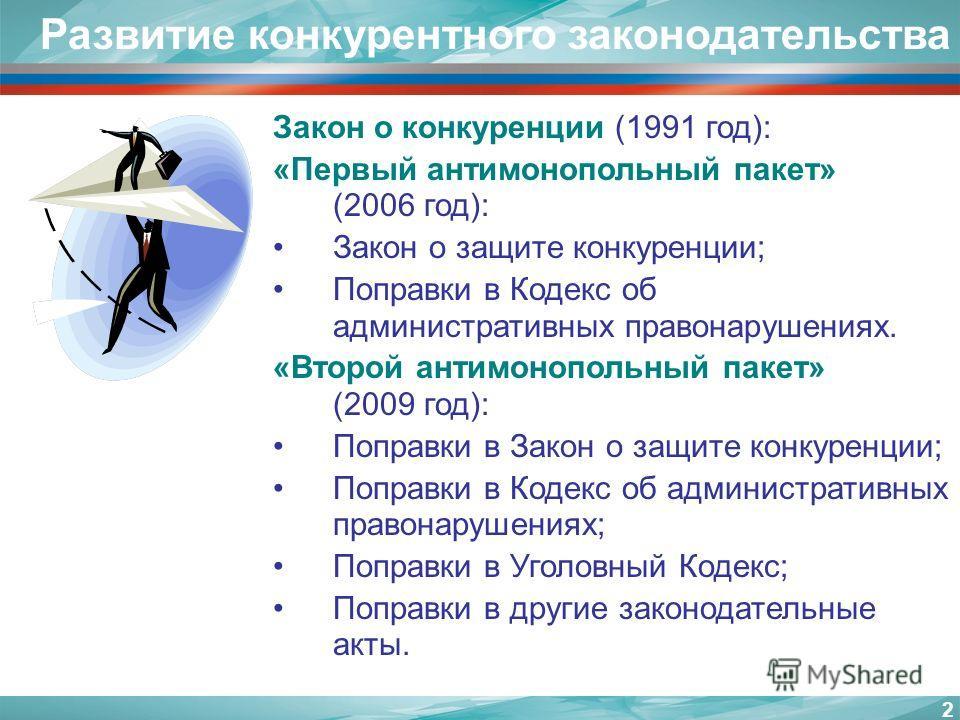2 Развитие конкурентного законодательства Закон о конкуренции (1991 год): «Первый антимонопольный пакет» (2006 год): Закон о защите конкуренции; Поправки в Кодекс об административных правонарушениях. «Второй антимонопольный пакет» (2009 год): Поправк