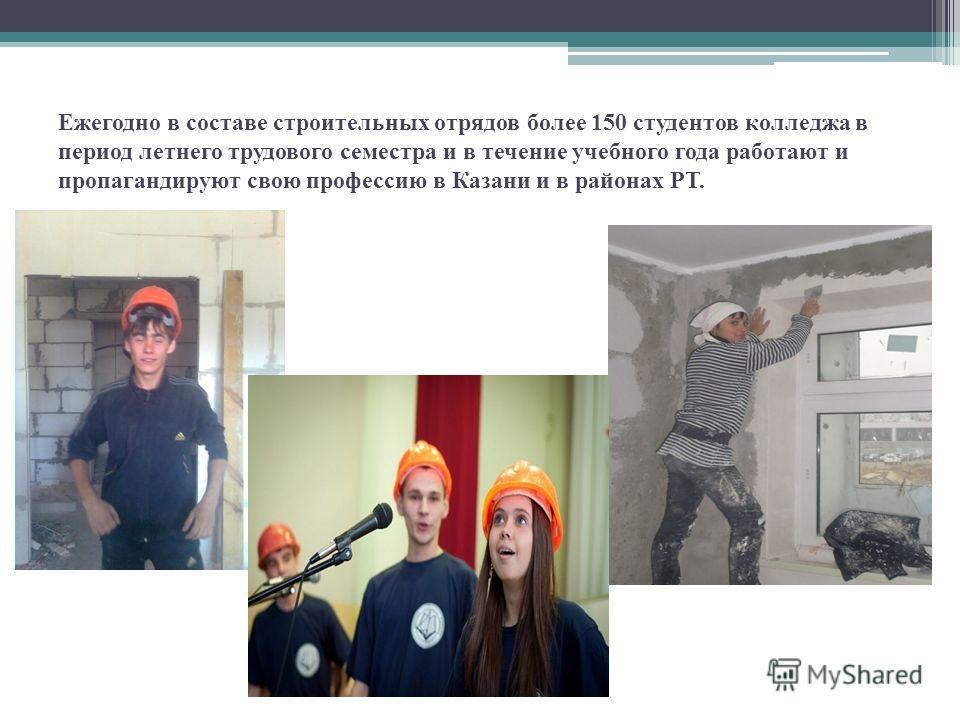 Ежегодно в составе строительных отрядов более 150 студентов колледжа в период летнего трудового семестра и в течение учебного года работают и пропагандируют свою профессию в Казани и в районах РТ.