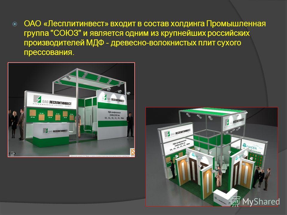 ОАО «Лесплитинвест» входит в состав холдинга Промышленная группа СОЮЗ и является одним из крупнейших российских производителей МДФ - древесно-волокнистых плит сухого прессования.