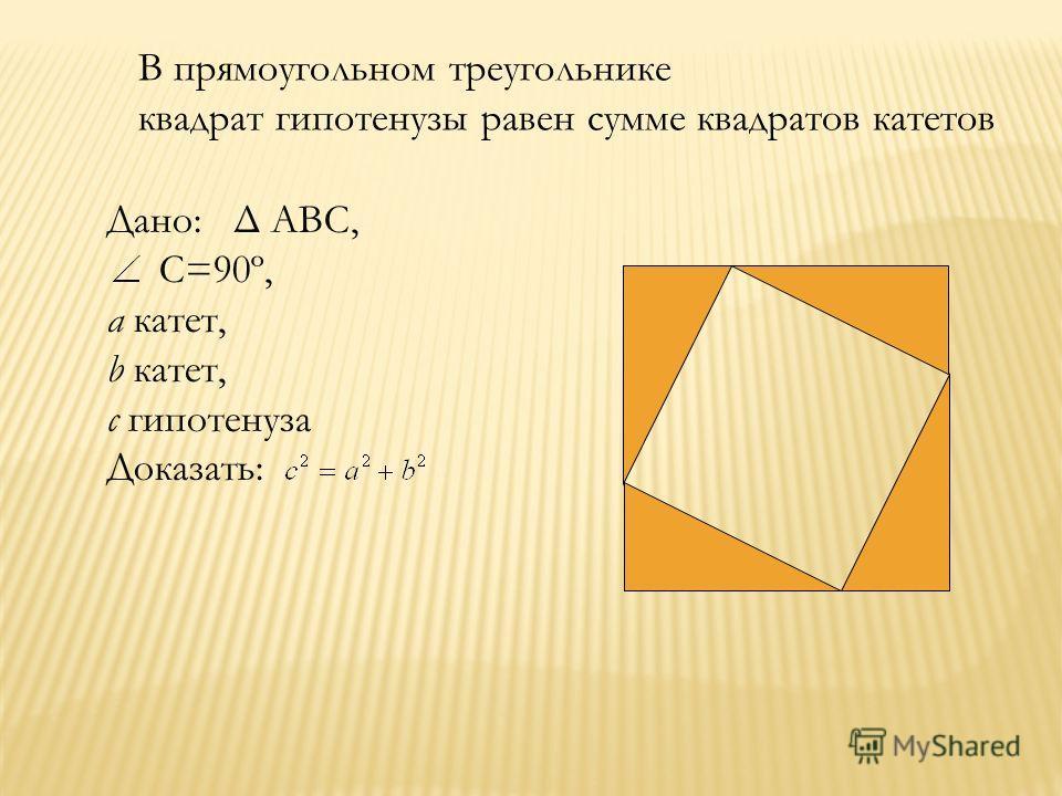 В прямоугольном треугольнике квадрат гипотенузы равен сумме квадратов катетов Дано: Δ АВС, С=90º, a катет, b катет, c гипотенуза Доказать: