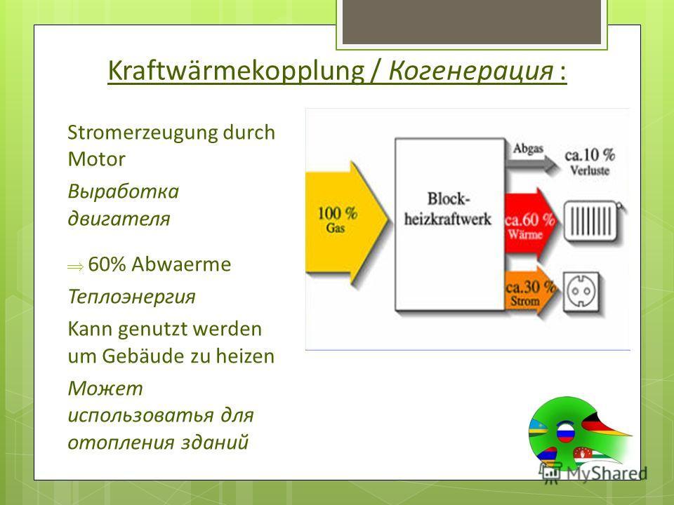 Kraftwärmekopplung / Когенерация : Stromerzeugung durch Motor Выработка двигателя 60% Abwaerme Теплоэнергия Kann genutzt werden um Gebäude zu heizen Может использоватья для отопления зданий