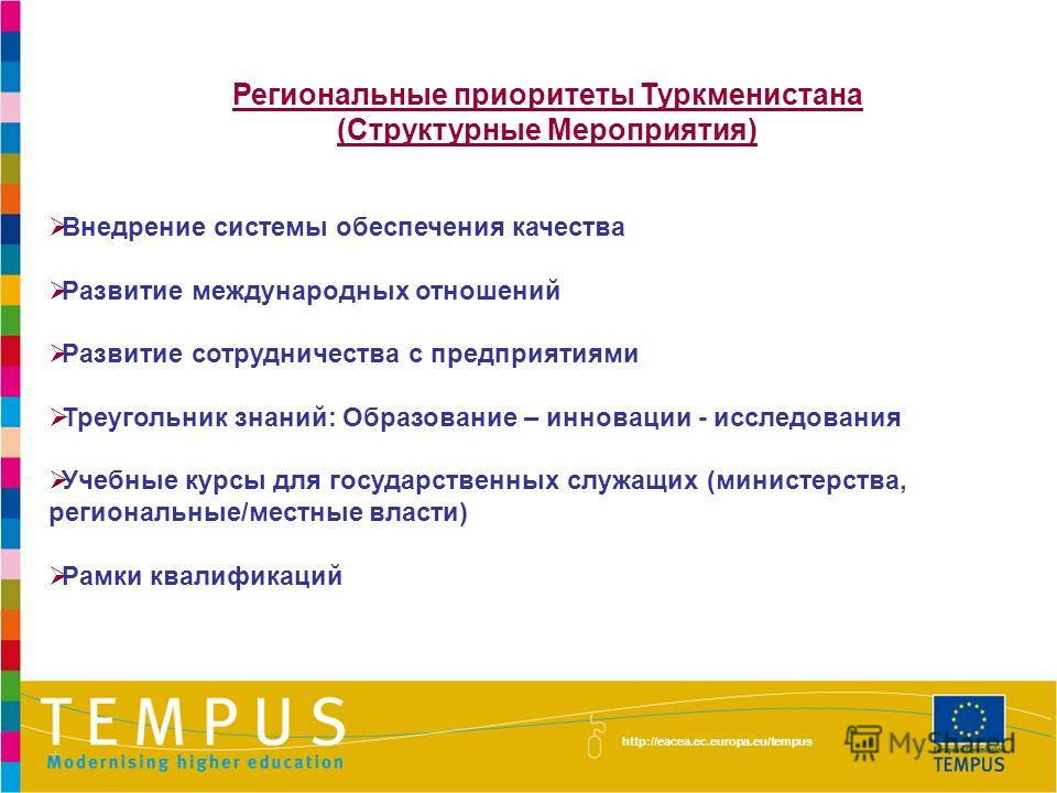 Региональные приоритеты Туркменистана (Структурные Мероприятия) Внедрение системы обеспечения качества Развитие международных отношений Развитие сотрудничества с предприятиями Треугольник знаний: Образование – инновации - исследования Учебные курсы д