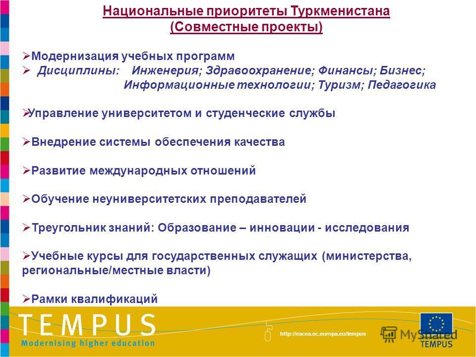 Национальные приоритеты Туркменистана (Совместные проекты) Модернизация учебных программ Дисциплины: Инженерия; Здравоохранение; Финансы; Бизнес; Информационные технологии; Туризм; Педагогика Управление университетом и студенческие службы Внедрение с