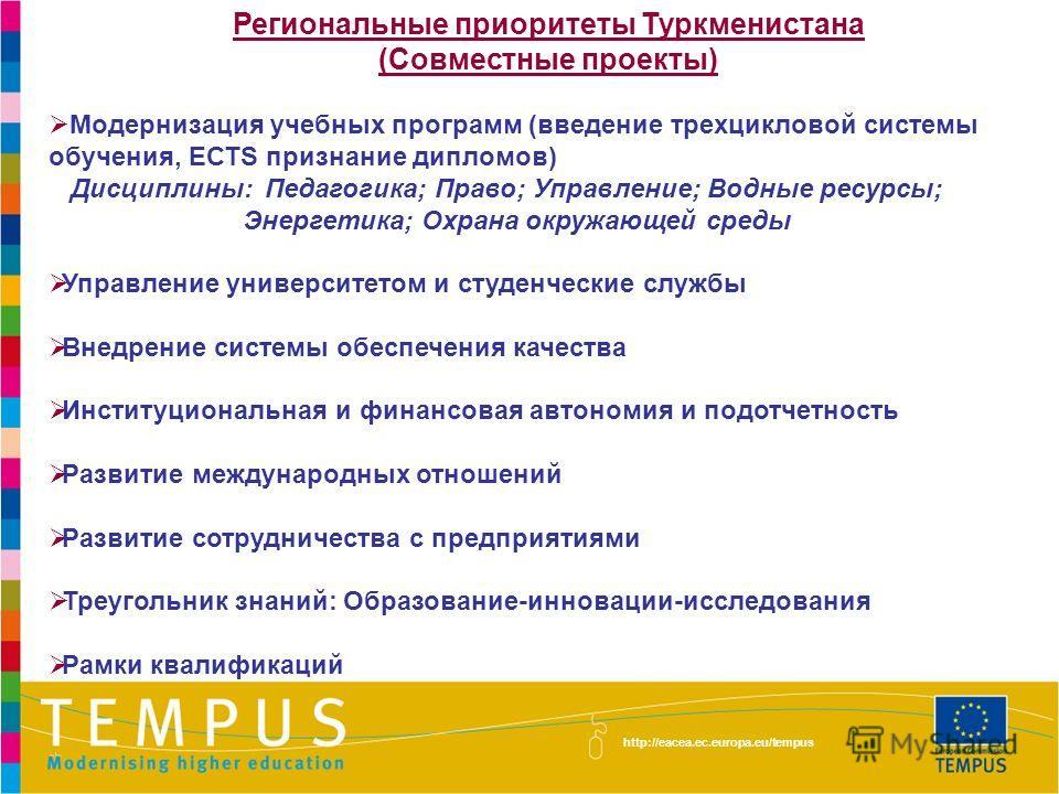 Региональные приоритеты Туркменистана (Совместные проекты) Модернизация учебных программ (введение трехцикловой системы обучения, ЕСТS признание дипломов) Дисциплины: Педагогика; Право; Управление; Водные ресурсы; Энергетика; Охрана окружающей среды