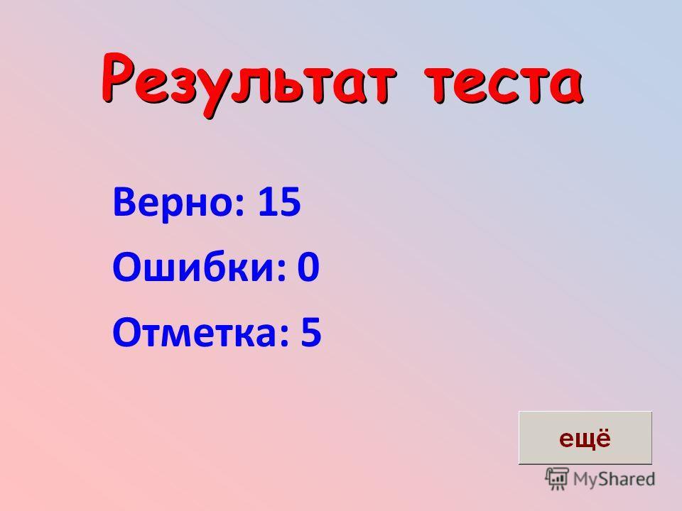 Результат теста Верно: 15 Ошибки: 0 Отметка: 5
