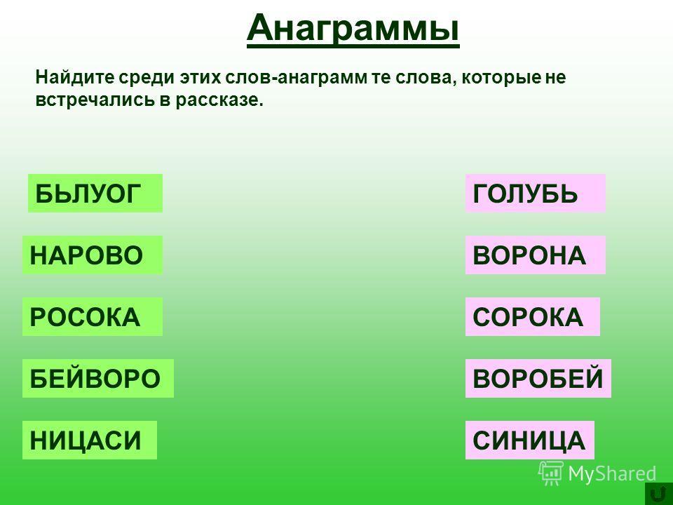 Анаграммы Найдите среди этих слов-анаграмм те слова, которые не встречались в рассказе. БЬЛУОГ НАРОВО РОСОКА БЕЙВОРО НИЦАСИ ГОЛУБЬ ВОРОНА СОРОКА ВОРОБЕЙ СИНИЦА