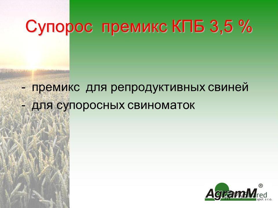 Супорос премикс КПБ 3,5 % -премикс для репродуктивных свиней -для супоросных свиноматок