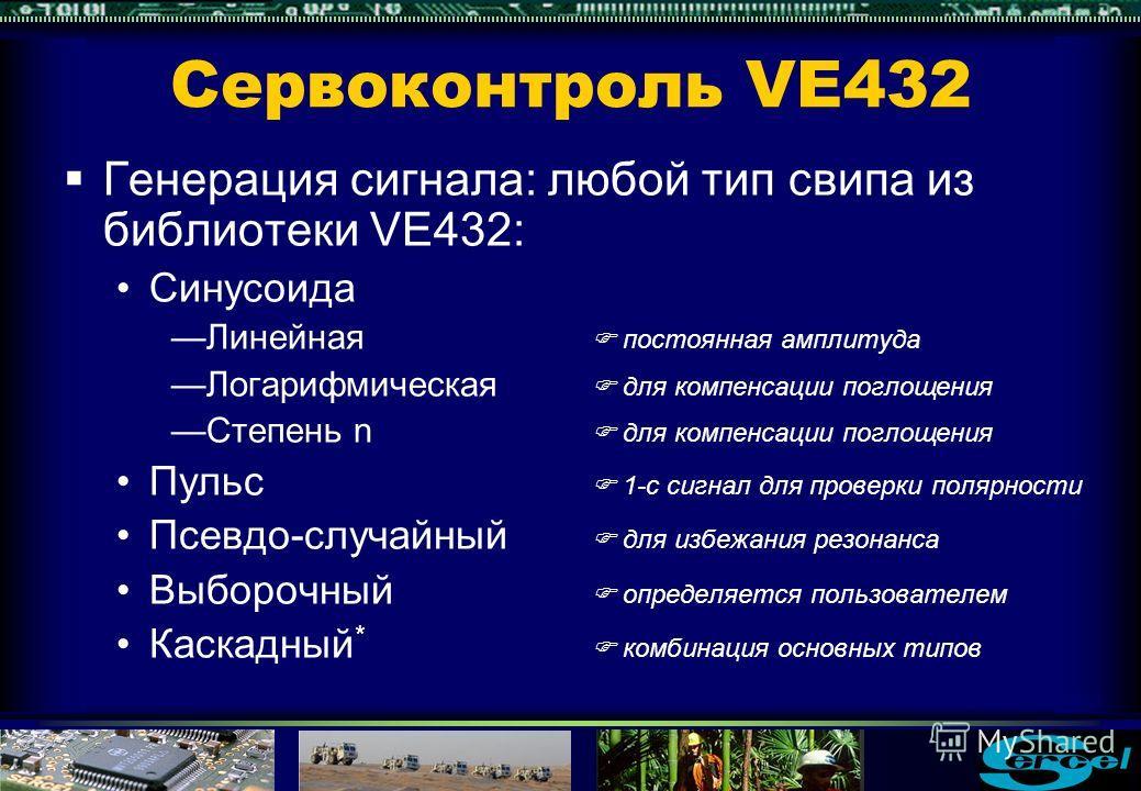 Сервоконтроль VE432 Низкое искажение Тесты для свипа 8-80Hz, 12с Другие VE432