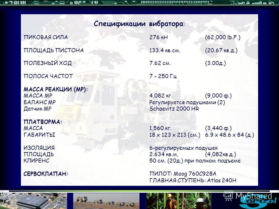 Спецификации вибратора: ПИКОВАЯ СИЛА276 кН(62,000 lb.F.) ПЛОЩАДЬ ПИСТОНА133.4 кв.см. (20.67 кв.д.) ПОЛЕЗНЫЙ ХОД7.62 см.(3.00д.) ПОЛОСА ЧАСТОТ7 - 250 Гц МАССА РЕАКЦИИ (МР): МАССА МР 4,082 кг. (9,000 ф.) БАЛАНС МРРегулируется подушками (2) Датчик МРSch