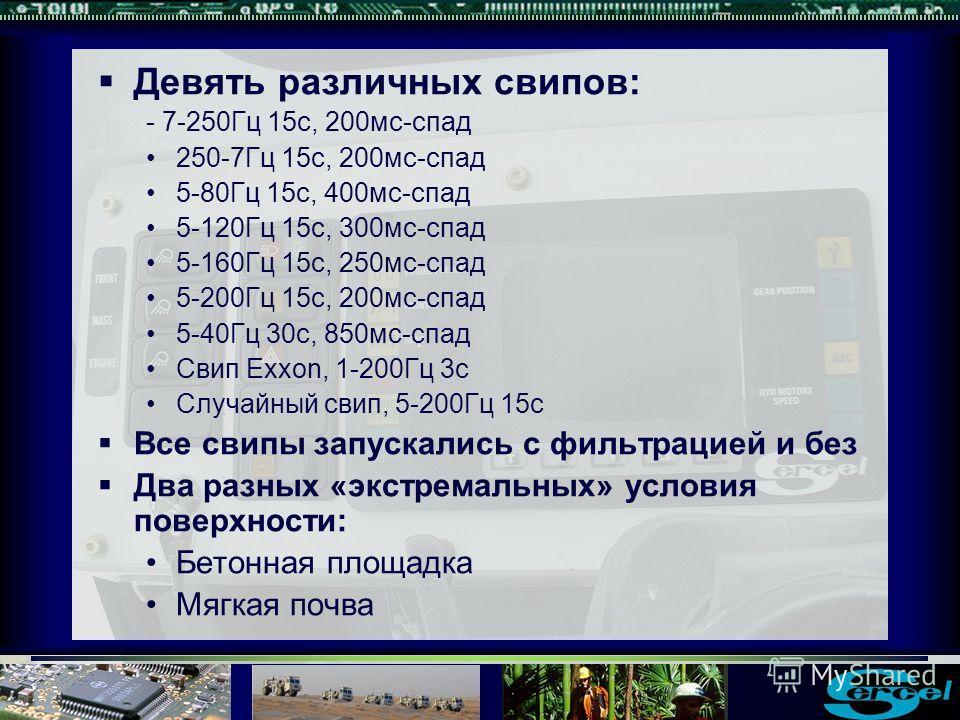 Девять различных свипов: - 7-250Гц 15с, 200мс-спад 250-7Гц 15с, 200мс-спад 5-80Гц 15с, 400мс-спад 5-120Гц 15с, 300мс-спад 5-160Гц 15с, 250мс-спад 5-200Гц 15с, 200мс-спад 5-40Гц 30с, 850мс-спад Свип Exxon, 1-200Гц 3с Случайный свип, 5-200Гц 15с Все св